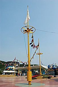 公园带旗帜装饰灯柱