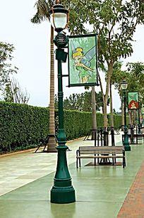 公园绿色带画装饰灯