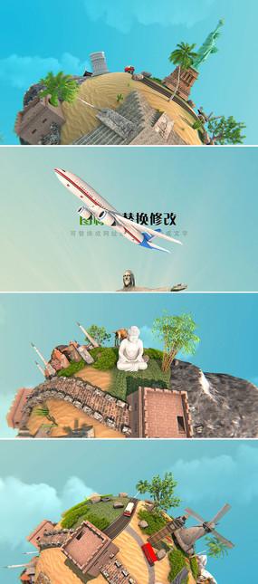 环游世界旅游节目开场片头模板
