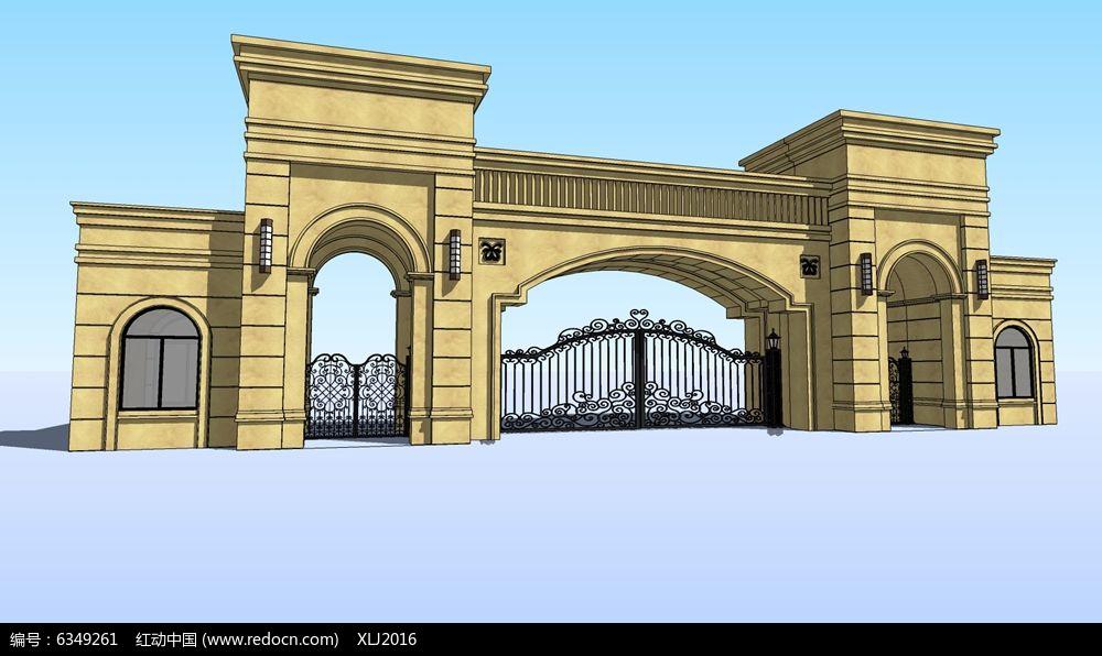 欧式拱形简约铁艺大门图片