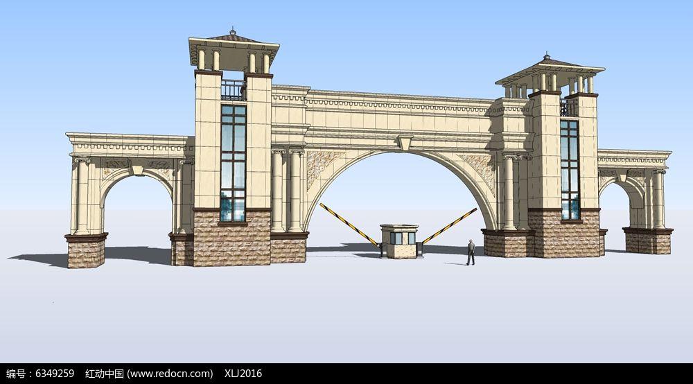 欧式拱形门电动杆大门图片图片