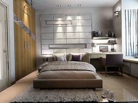 现代中性色卧室设计模型