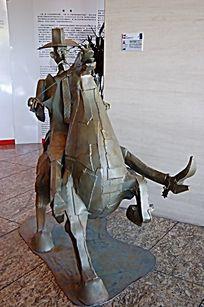 西部牛仔金属雕塑小品