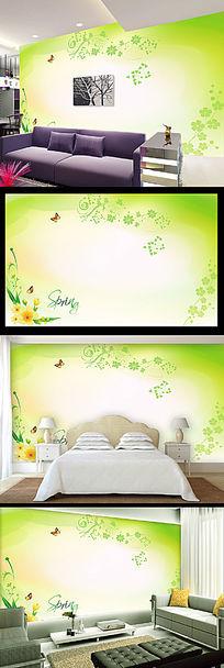春天绿色花纹装饰背景墙