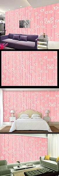 粉色手绘花朵电视背景墙