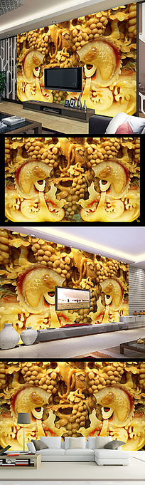高清玉石鲤鱼双鱼客厅壁画背景墙