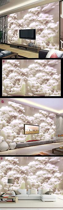 汉白玉玉雕山水亭子电视背景墙