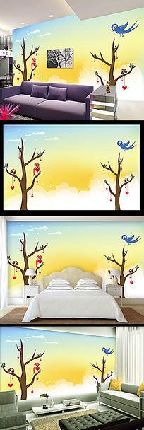 简约卡通大树小鸟儿童房背景墙