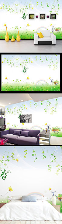 绿色春天手绘背景墙装饰画