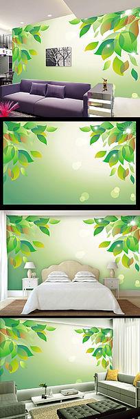 绿色清新抽象树叶电视背景墙