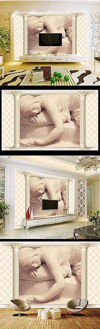 欧式软包罗马柱睡美人3D电视背景墙
