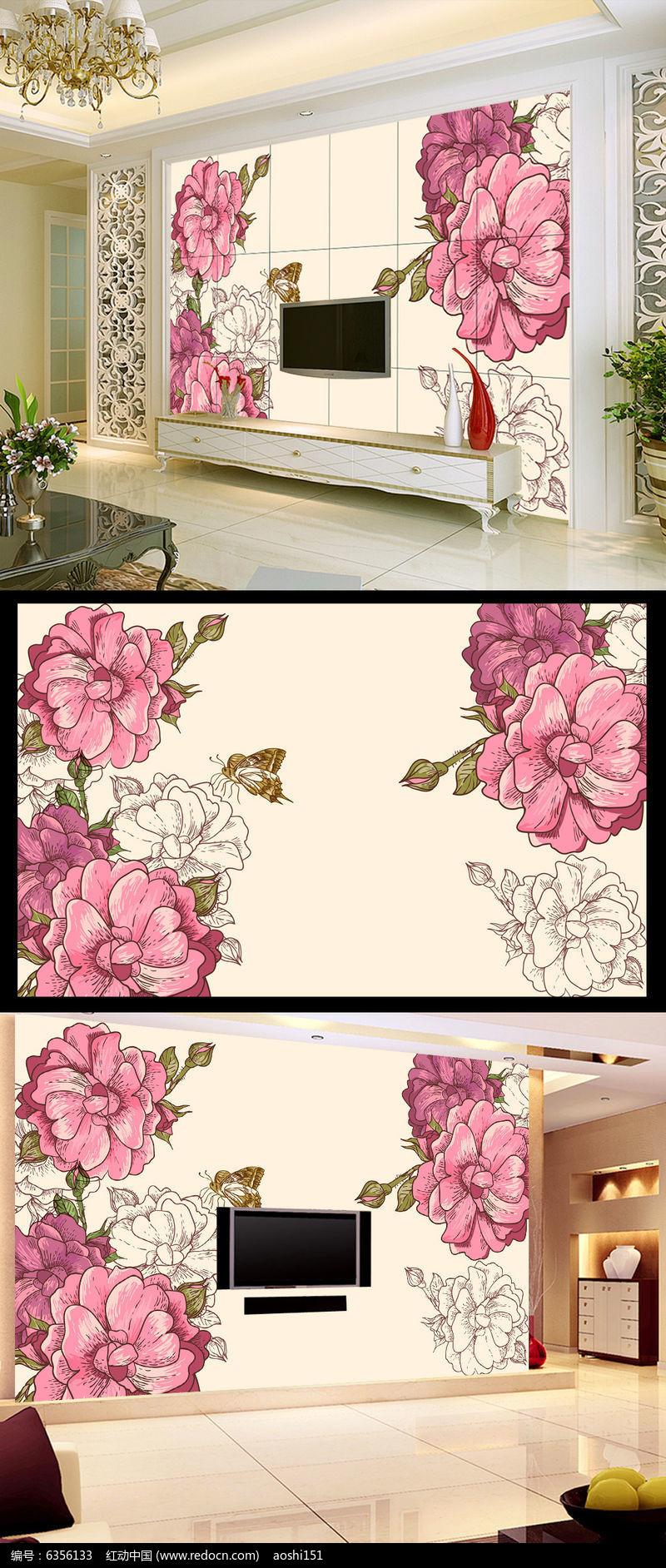 手绘玫瑰花电视背景墙装饰画