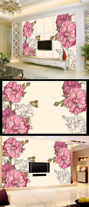 创意手绘玫瑰花情人节海报设计 手绘玫瑰花无框画墙壁装饰画 手绘玫瑰图片