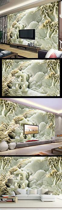 玉雕中国风壁画电视背景墙