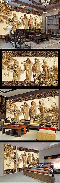 中国四大美女木雕背景电视墙