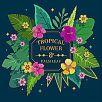 棕榈树花朵矢量插画