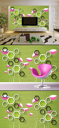 3D立体壁画手绘花朵电视背景墙