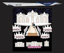 白色欧式浪漫婚礼舞台