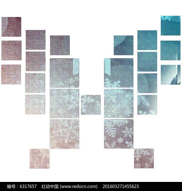 蝴蝶拼接素材照片墙正方形图片
