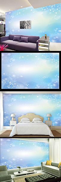 蓝色梦幻花朵电视背景墙