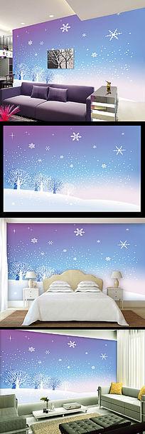 蓝色梦幻雪花抽象树电视背景墙