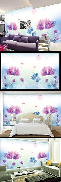 梦幻透明花朵电视背景墙
