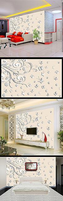 3D简约浮雕蝴蝶群电视沙发背景墙