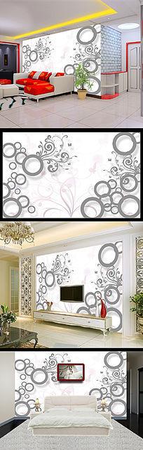 3D立体花纹电视背景墙壁画壁纸