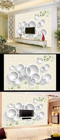 3D圆圈抽象绿叶花纹背景墙