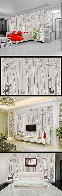 抽象树树林小鸟鹿3D电视背景墙