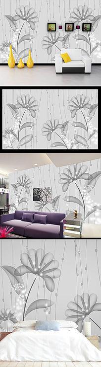 抽象艺术花纹电视背景墙