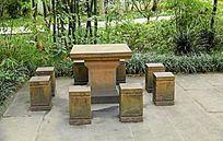 公园中式石桌石凳 JPG