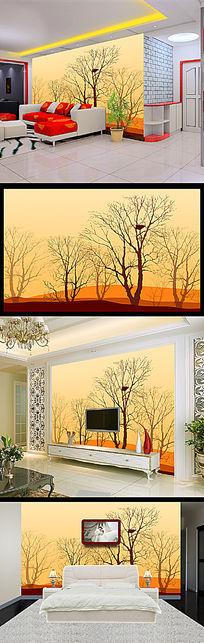 简约抽象树电视背景墙装饰画