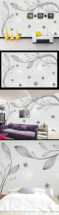 简约抽象线花纹背景墙装饰画