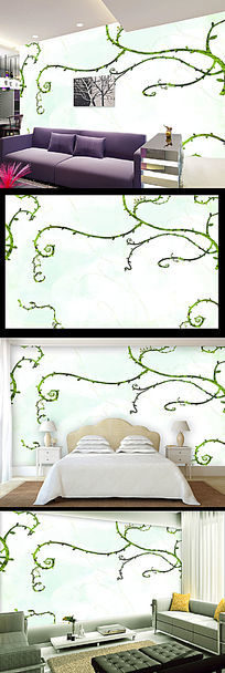 简约动感树枝背景墙装饰画