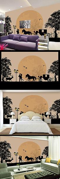 浪漫爱情森林麋鹿沙发背景墙装饰画