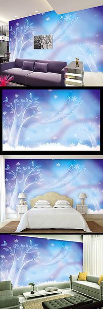 蓝色梦幻抽象水晶树电视背景墙
