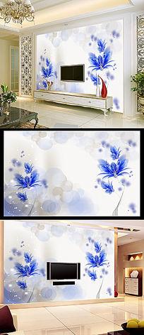 蓝色梦幻时尚简约花朵电视墙