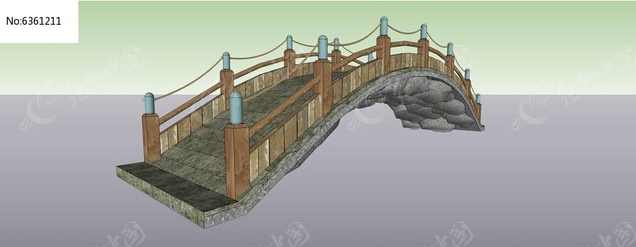 木栏杆石板拱桥图片