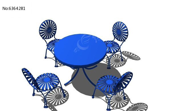 欧式多人金属桌椅su模型图片