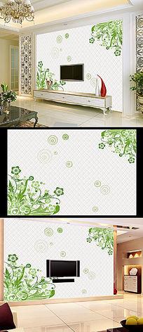 欧式花纹花朵3D小花电视背景墙