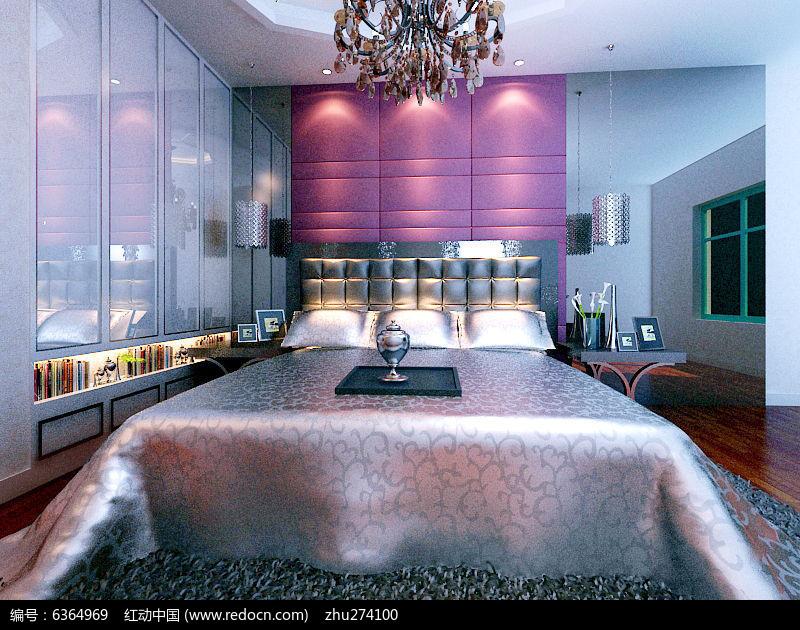 素材/卧室装修模型素材 室内装修 卧室模型现代时尚白色衣柜装饰床...