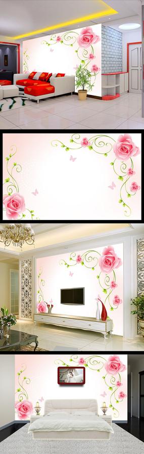 现代简约浪漫玫瑰电视背景墙装饰画