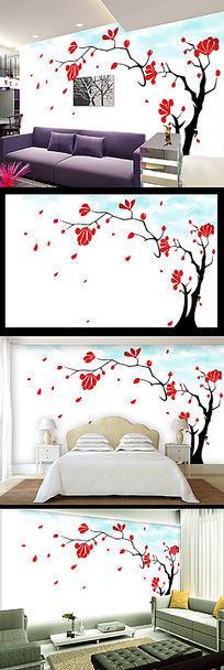 小清新简约手绘花朵壁画背景墙