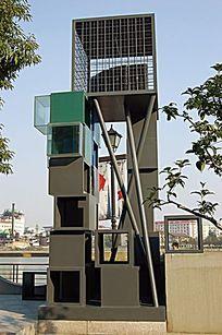 现代方形景观塔