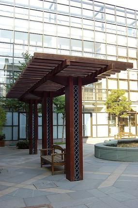 中式单面木质廊架