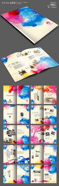 最新水彩时尚同学录毕业纪念册模板设计
