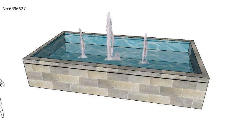 长方形喷泉su模型