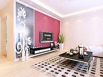超时尚客厅电视墙设计模型