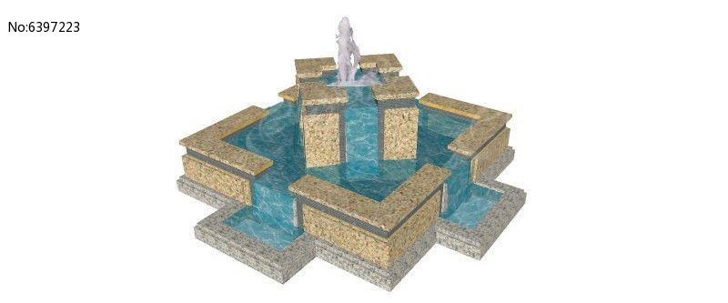 方形欧式流水喷泉景观图片